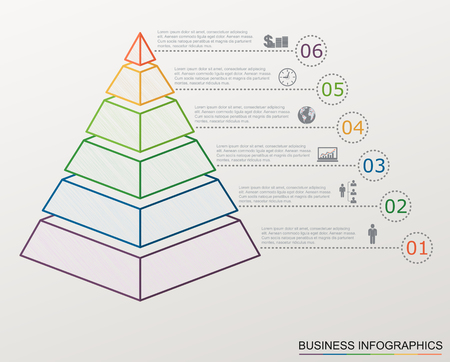 Infographic pyramid with numbers and business icons, line style, template with stepwise structure with 6 steps. Illustration