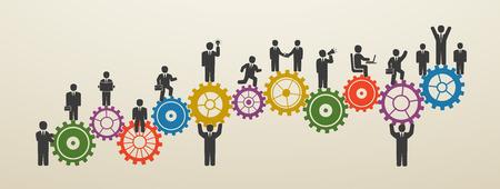 Lavoro di squadra, uomini d'affari in movimento, forza lavoro. Concetto di persone d'affari sulle ruote dentate. Motivazione per il successo.