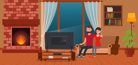 watching: Young couple sitting on sofa watching TV by fireplace. Contemporary living room interior. Illustration