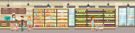 checkout line: Supermarket store with goods. Big shopping center. Interior store inside. People in line at cash desk. Scene inside shopping mall.