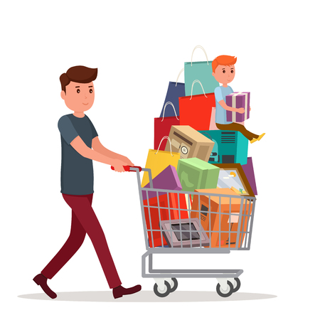 Man with full shopping basket of food. Mount bags and boxes in basket with baby on top.
