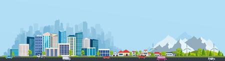 Stadtlandschaft mit großen modernen Gebäuden und Vorort mit privaten Häusern auf einem Hintergrund Berge und Hügel. Straße, Autobahn mit Autos. Konzept Stadt und Vorort Leben. Vektorgrafik