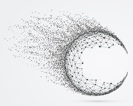 Global mesh sphere with particles. Abstract geometric shape with spherical severed off triangular faces.