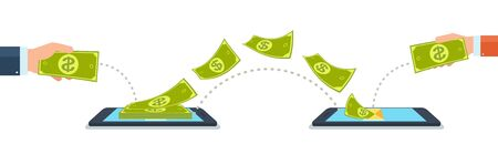 Send and receive money using mobile phones, gadgets. Concept bank payments to each other. Illustration