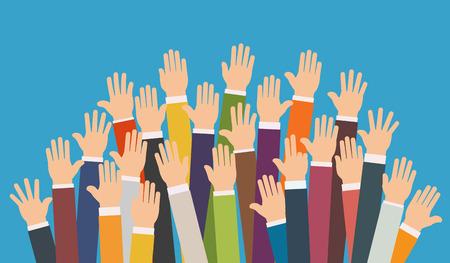 Levantado las manos. la caridad como voluntario, el concepto de la educación, la formación empresarial. Ilustración de vector