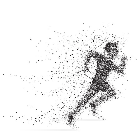 athletes: Running Man. Athlete with bursting particles. Illustration on a white background.