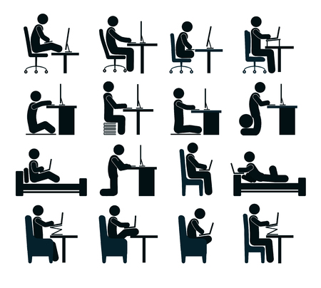 the concept is correct: Bad and good working position of the human at the computer in office chair, on bed. Different positions of person at computer.