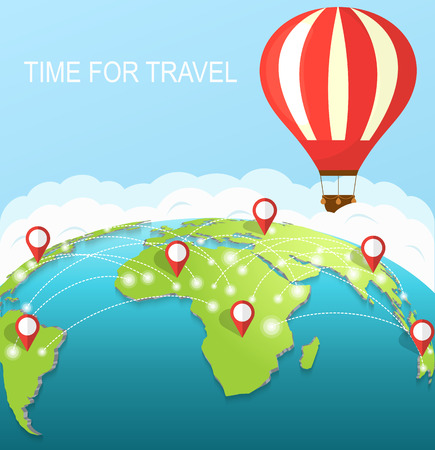 air travel: Time to travel. An air balloon in the sky around earth. Concept of travel around the world. Illustration