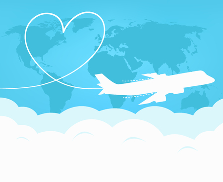 world travel: Travel and tourism around the world by plane. Love travel concept
