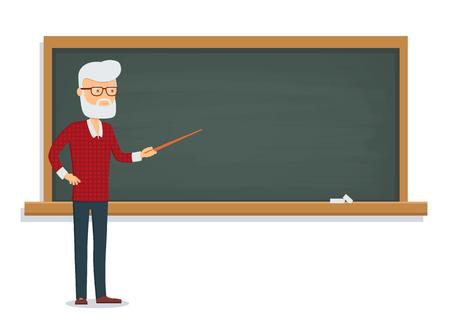teaches: Senior male teacher teaches a lesson on the chalkboard. Illustration