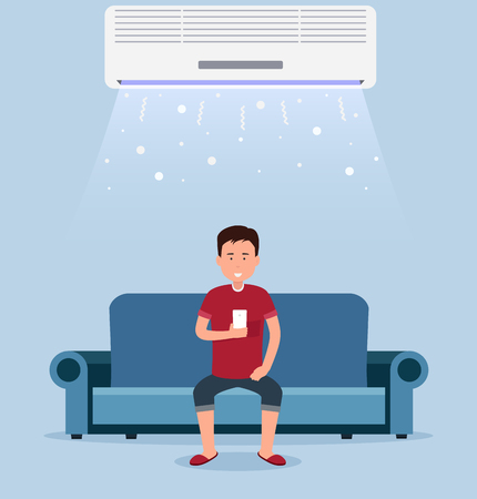 Aria condizionata in casa, camera con raffreddamento, un uomo sul divano con controllo di clima in camera. Vettoriali