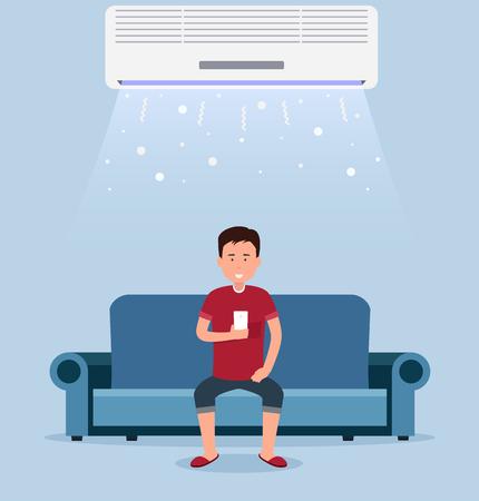 Climatisation à domicile, chambre avec refroidissement, un homme sur le canapé avec contrôle de la température dans la chambre. Vecteurs