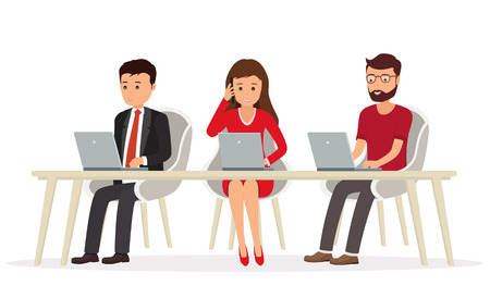 woman laptop: Business people behind a desk working on a laptop.Teamwork in network. Illustration