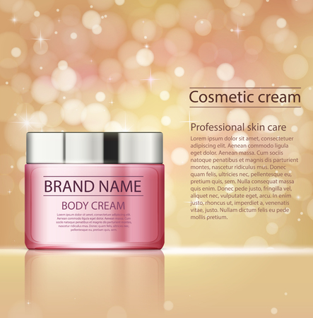 Cosmetic products,  facial treatment cream. Moisturizing cream or liquid for body on golden pink template with sparkles.