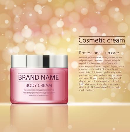 Cosmetische producten, gezichtsbehandeling crème. Vochtinbrengende crème of vloeistof voor lichaam op gouden roze sjabloon met glitters. Stock Illustratie