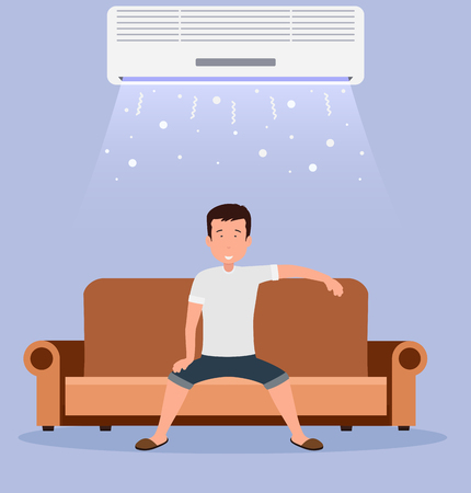 lounging: Home air conditioning, room with cooling, a man on the couch with climate control in room.