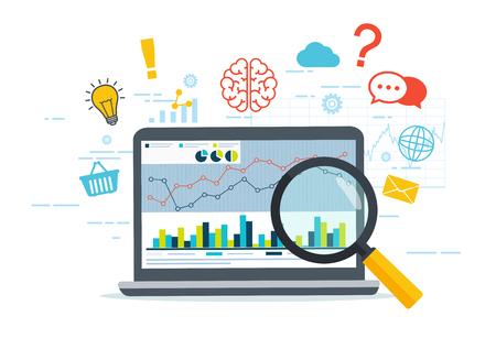 Webanalyse en informatie. Bedrijfsstrategie. SEO optimalisatie. Digitaal marketingconcept. Denken vanuit een laptop.