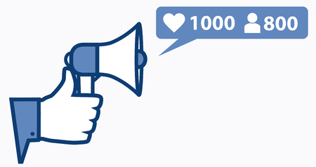 oncept: Thumb up with microphone and new rating symbols. ?oncept of following in social media.