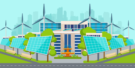 Solar panels with wind turbines in ecologically clean city. Eco  environment. Illustration