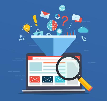 Optimización del sitio web, aumentando el factor de eficiencia de SEO, tecnología de marketing empresarial, redes sociales, optimización de motores de búsqueda. Ilustración de vector