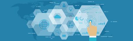 Digital web analytics. Business technology in digital space, SEO optimization, marketing concept. Vettoriali