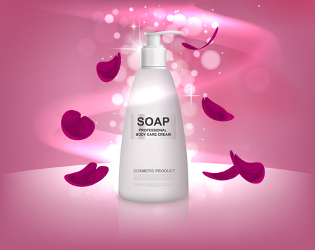 White liquid soap bottle with rose petals. Body care for the shower.