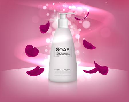 Weiße flüssige Seifenflasche mit den rosafarbenen Blumenblättern. Körperpflege für die Dusche.