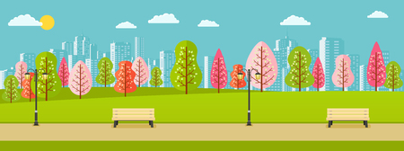 webbanner: Public spring park with pink, red, green trees and a view of city. Illustration