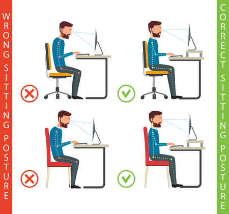 backrest: Bad and good working position of human at computer. How to sit at desk when using a computer. Illustration