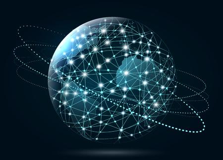 Wereldwijde netwerkverbinding. World Wide Web, verbinding van lijnen en punten rond de aarde.
