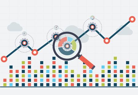 SEO-optimalisatie en bedrijfswebanalyse. Grafiek met grafiek omhoog Vector Illustratie