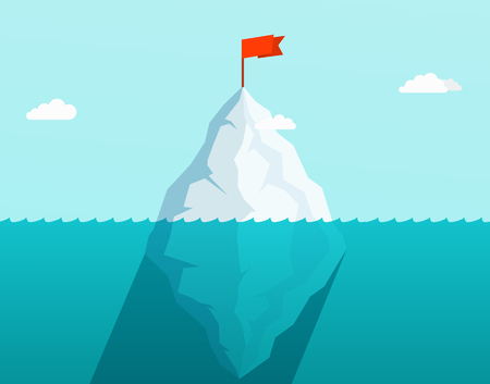 Iceberg in ocean floating in sea waves with red flag on top. Business concept. Illustration