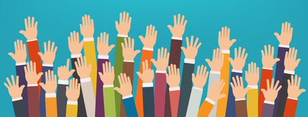 eager: Concept of raised up hands. Volunteering charity, party, concept of education, business training.