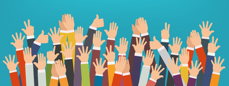 Concept of raised up hands. Concept of education, business training.