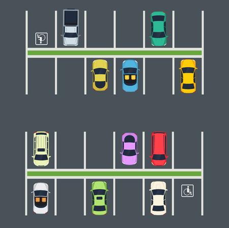 Lugar de estacionamiento con autos Vista superior de la zona de estacionamiento de la ciudad. Ilustración de vector