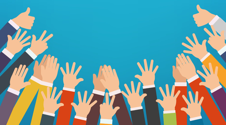 eager: Concept of raised up hands. Party, concept of education, business training, volunteering charity. Illustration