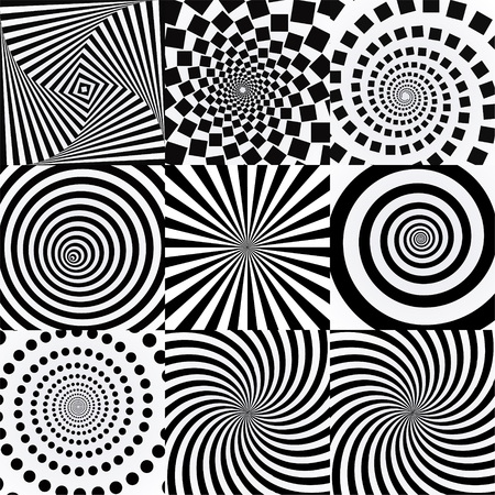 Spiral with vortex effect. Twisted futuristic effects. Vectores