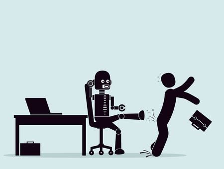 Evolución de robots, lucha por un lugar en el trabajo. Automatización de procesos comerciales. El robot expulsa el negocio del empleado del lugar de trabajo. Concepto de reemplazar a las personas con robots, inteligencia artificial. Ilustración de vector