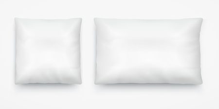 White pillow layout square and long rectangular.