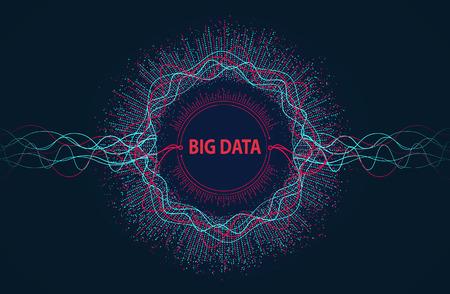 Duże dane. Wizualna informacja płynie z punktów i linii.
