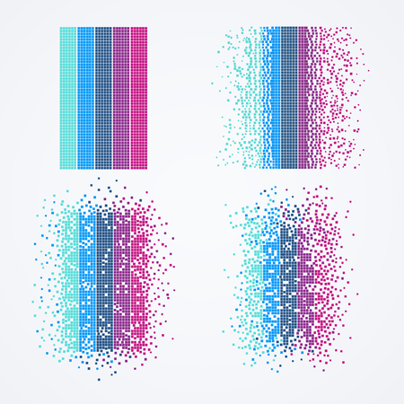 Big data visualization. Technology computer algorithm in form of geometric particles. Çizim