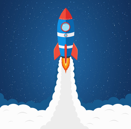 Launching rocket into space. Business concept for project startup. Spaceship among stars.