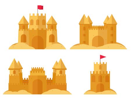 ビーチの砂の城のセット。砂の子供の夏のゲーム.  イラスト・ベクター素材