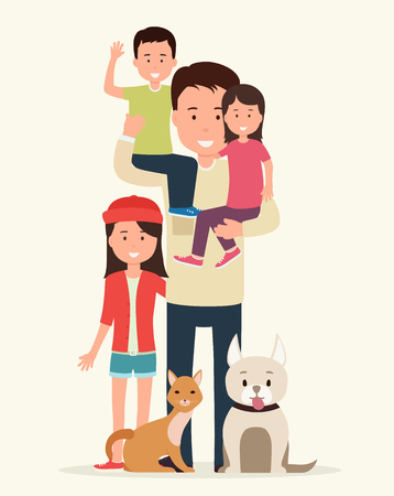 Big family. Father with children and animals
