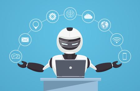 Chat bot, asistencia virtual robot. Robot se sienta detrás de una computadora portátil con iconos de ayuda a su alrededor. Concepto de inteligencia artificial en línea.
