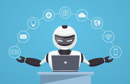 virtual assistant: Chat bot, robot virtual assistance. Robot sits behind a laptop with help icons around it. Artificial intelligence concept online. Illustration