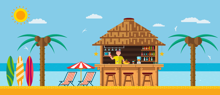 Tropical beach with a bar on the beach, summer vacation on the warm sand with clear water. Illustration