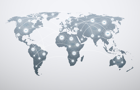 World map with global connections. Concept of connecting people to network around the world.