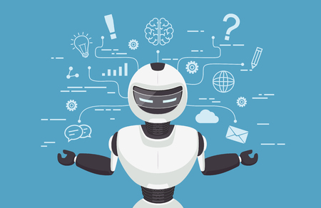 Chat bot, robot virtual assistance. Artificial intelligence concept online.