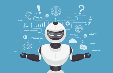 Chat-bot, virtuele robot-assistentie. Kunstmatige intelligentie concept online. Stock Illustratie